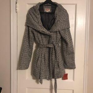 Juniors Tweed Hooded Shawl Collar Coat